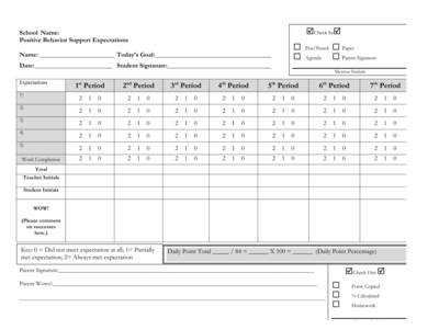 Check-in Check-Out Daily Progress Report Sample