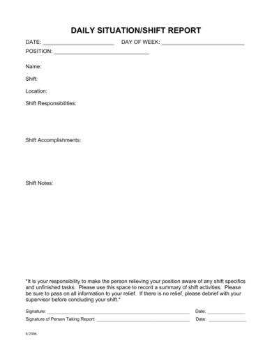 Daily Situation/Shift Report Template