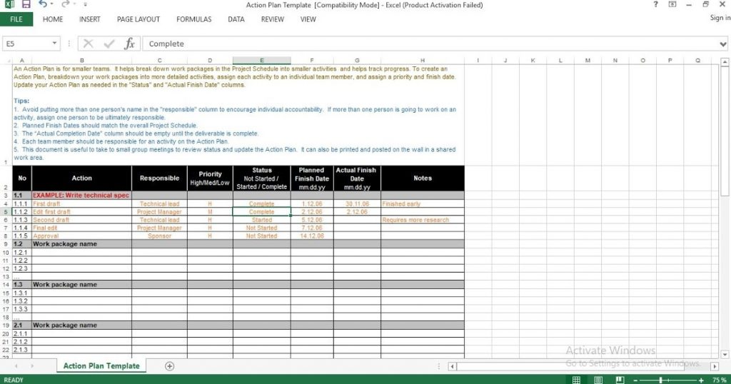Action Plan Excel Template ENGINEERING MANAGEMENT