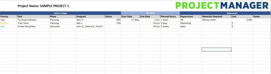 Action Plan Template For Excel Free Download