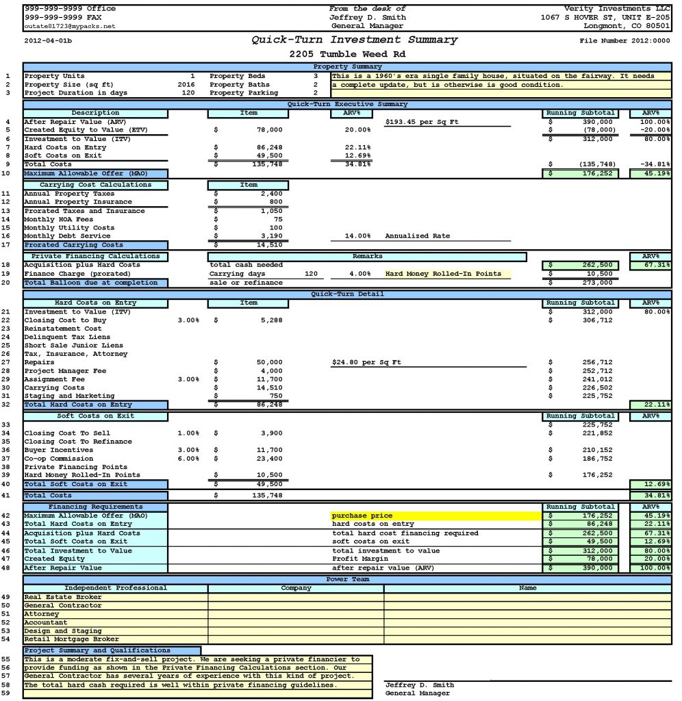 After Repair Value Spreadsheet With Regard To Property