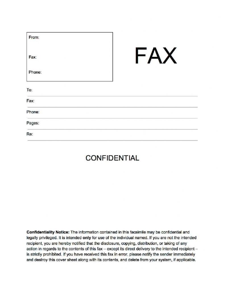 Confidential Fax Cover Sheet Fax Cover Sheet Cover