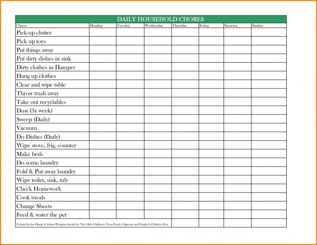 Excel Chore Chart Template Business