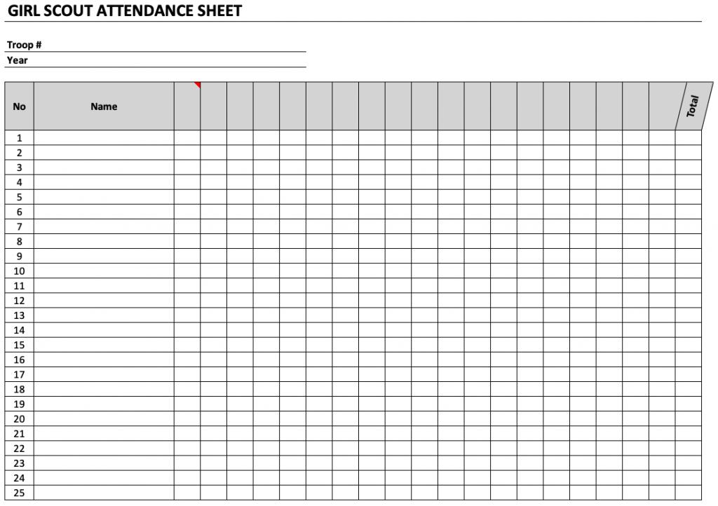 Girl Scout Attendance Sheet The Spreadsheet Page