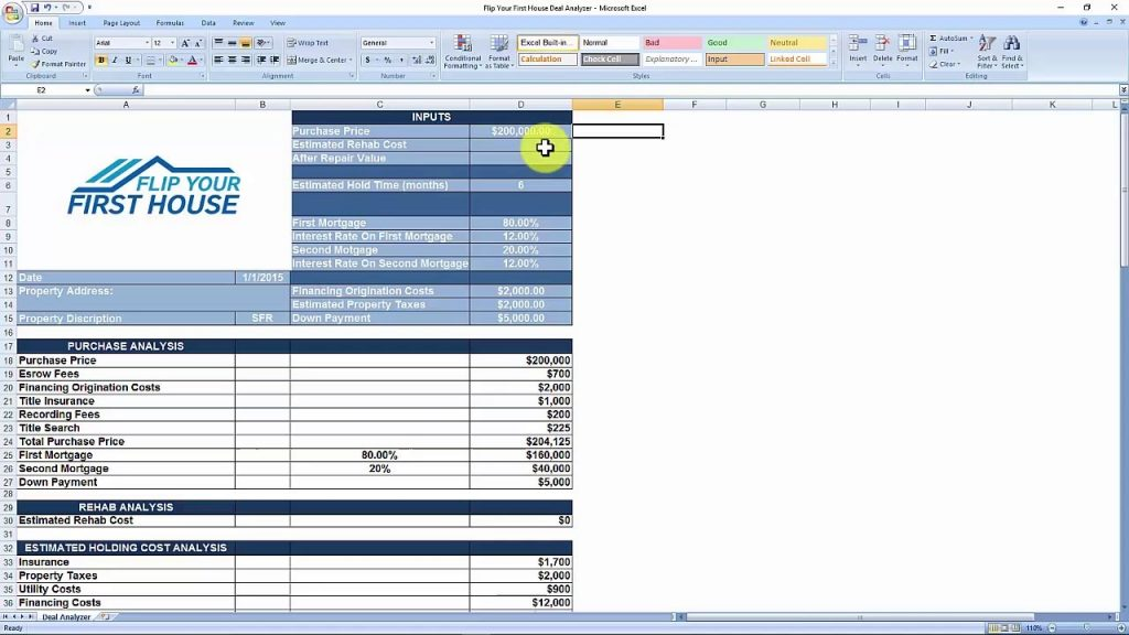 House Flipping Spreadsheet Free Download YouTube