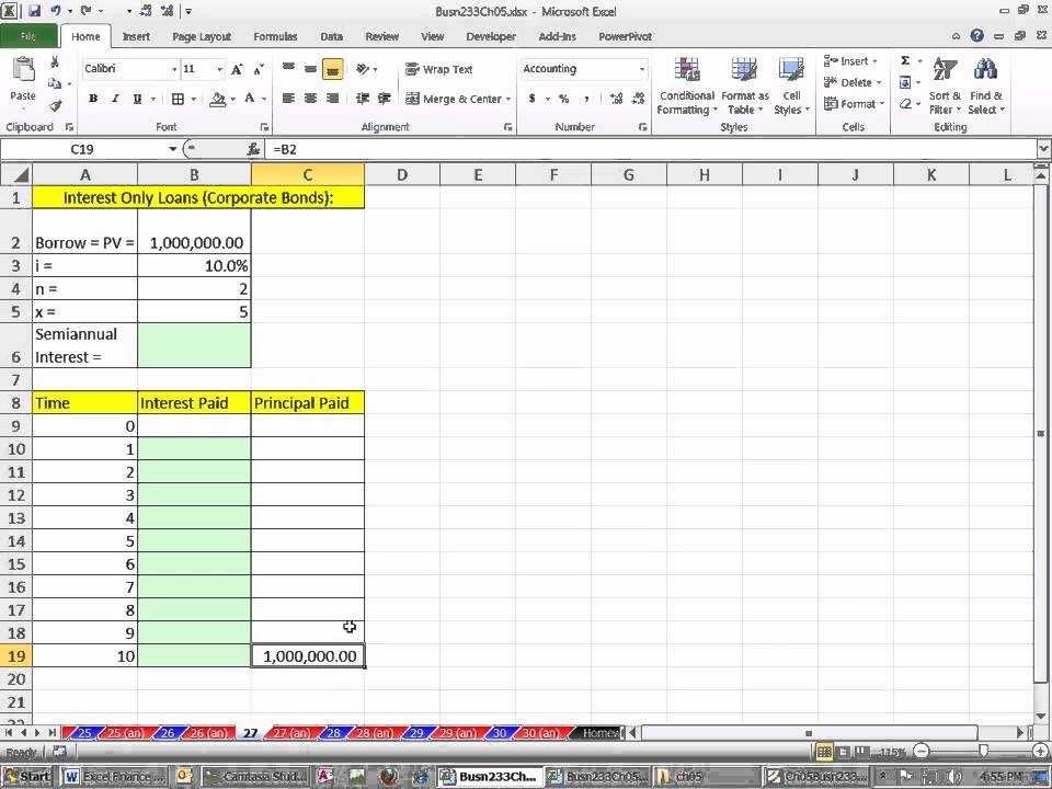 Excel Finance Class 41 Interest Only Loan Schedule YouTube