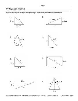 Pythagorean Theorem Worksheet With Video Answers By