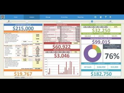 Real Estate Deal Analyzer Spreadsheet For Flipping Houses