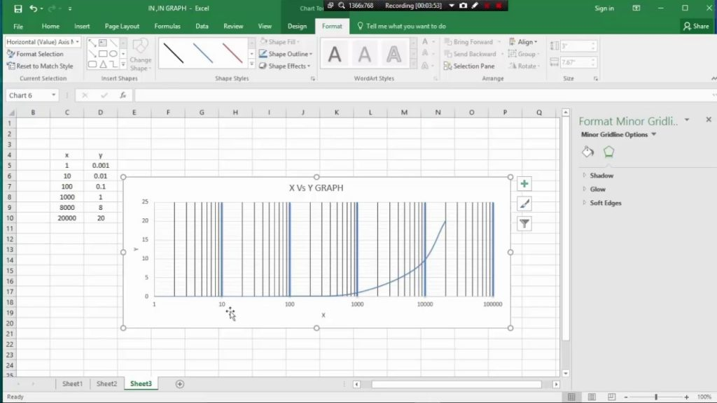 MS EXCEL CLASS 9 HOW TO SEMI LOG GRAPH PLOT BY MS CXCEL