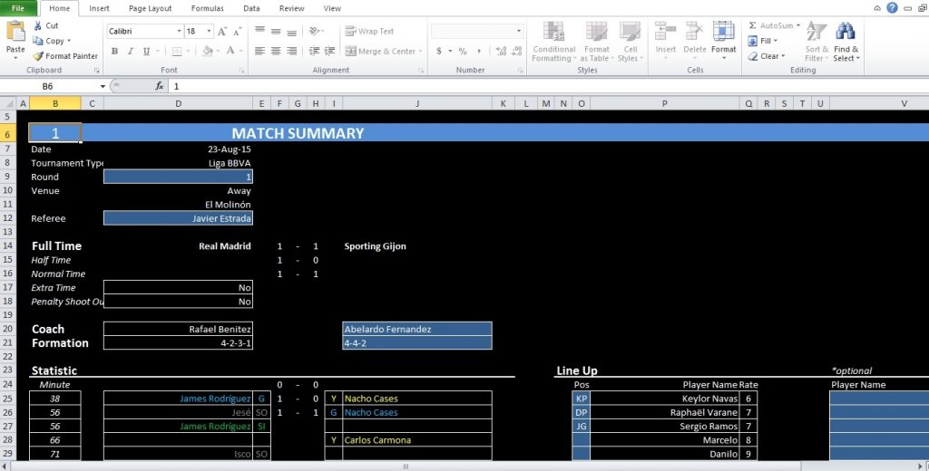 Soccer Stats Excel Spreadsheet Template Excel TMP