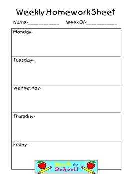Weekly Homework Sheet Complete Set By Teaching The Stars TpT