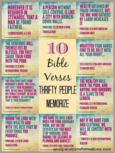 10 Bible Verses Thrifty People Memorize Snail Pace