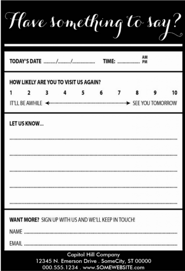 10 Restaurant Customer Comment Card Templates Designs