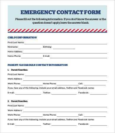 12 Emergency Contact Forms PDF DOC Free Premium