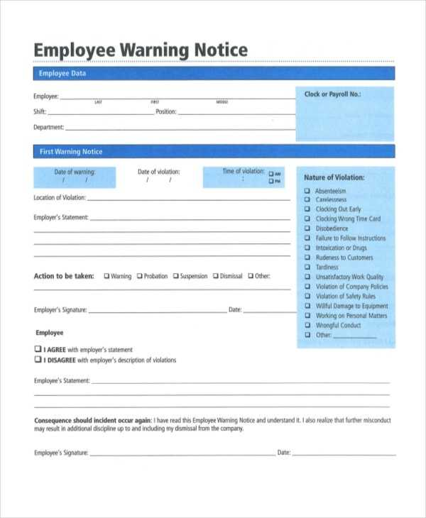 12 Printable Employee Warning Notice Templates Google