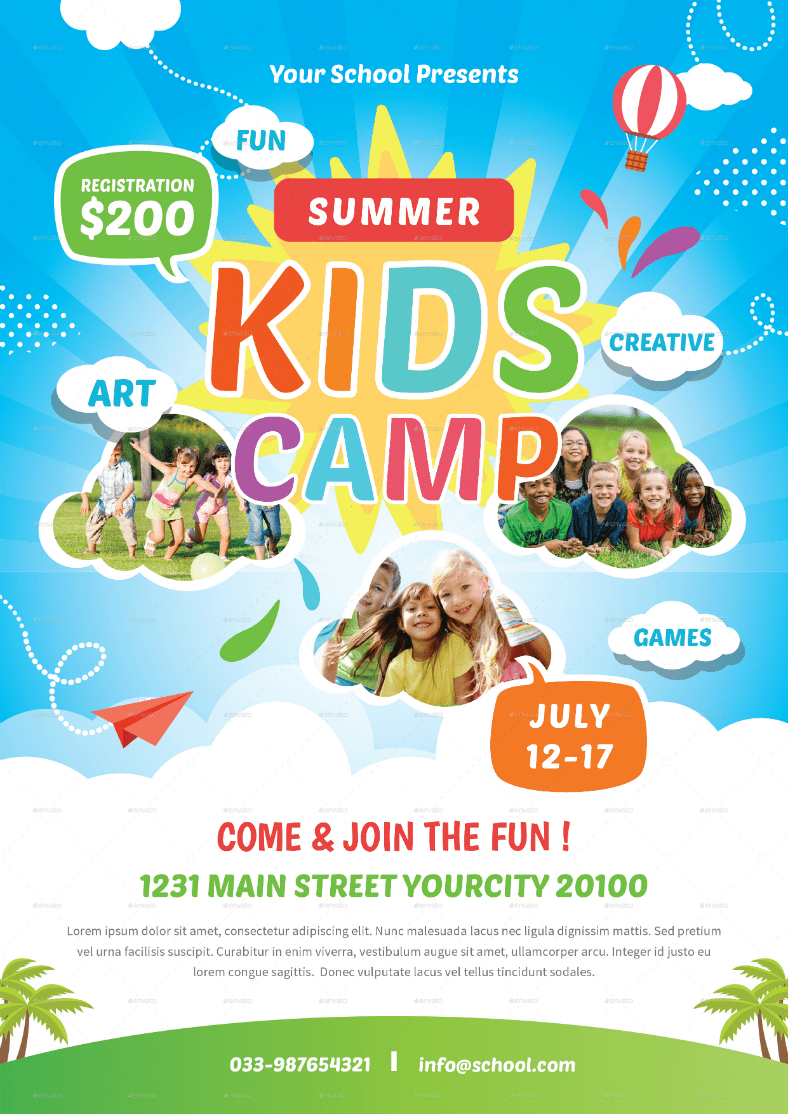 15 Summer Camp Flyer Designs PSD Word Publisher