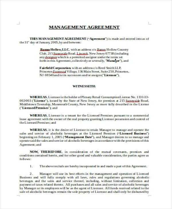 16 Management Agreement Templates Word PDF Free