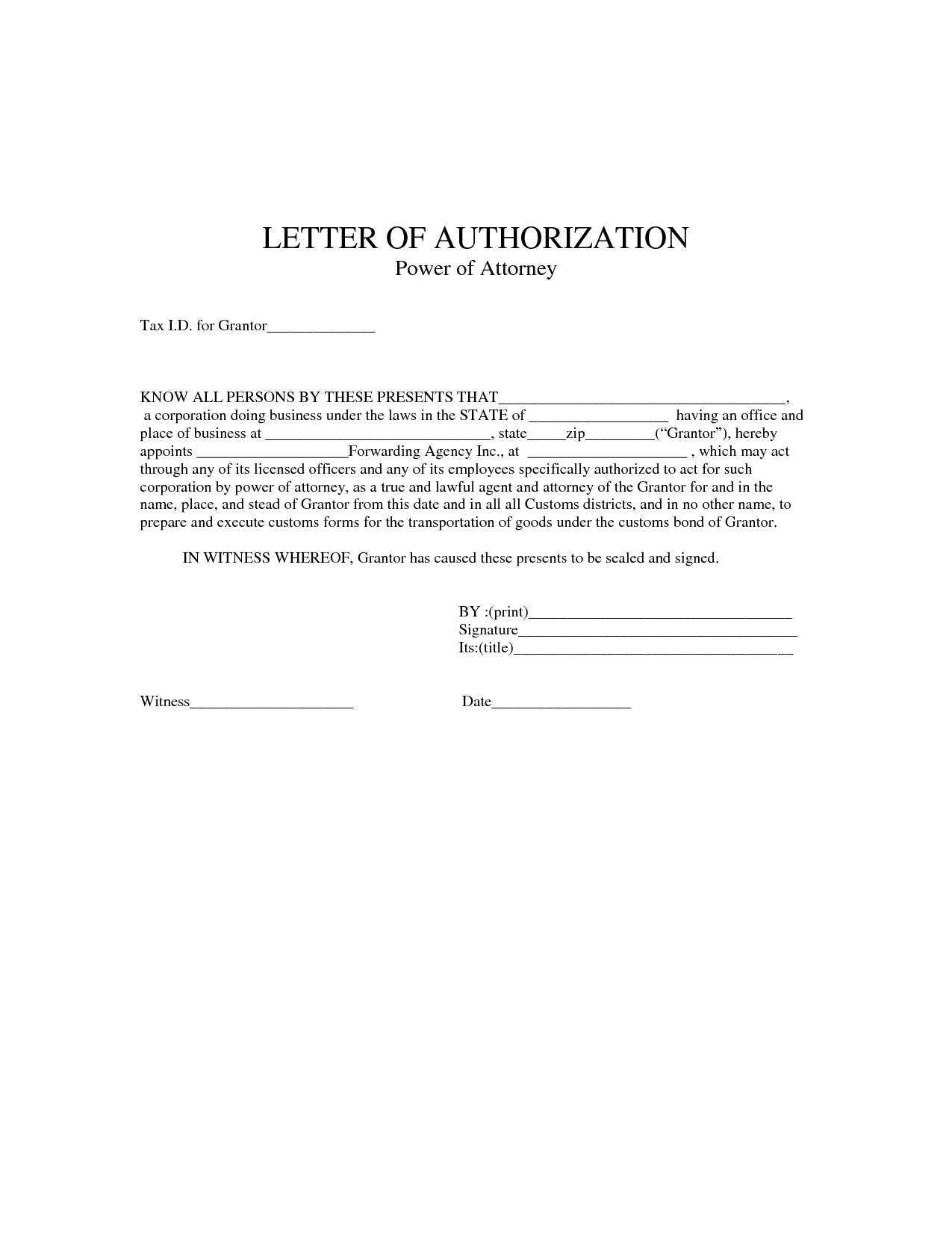 2 Free Power Of Authorization Letter Sample Examples
