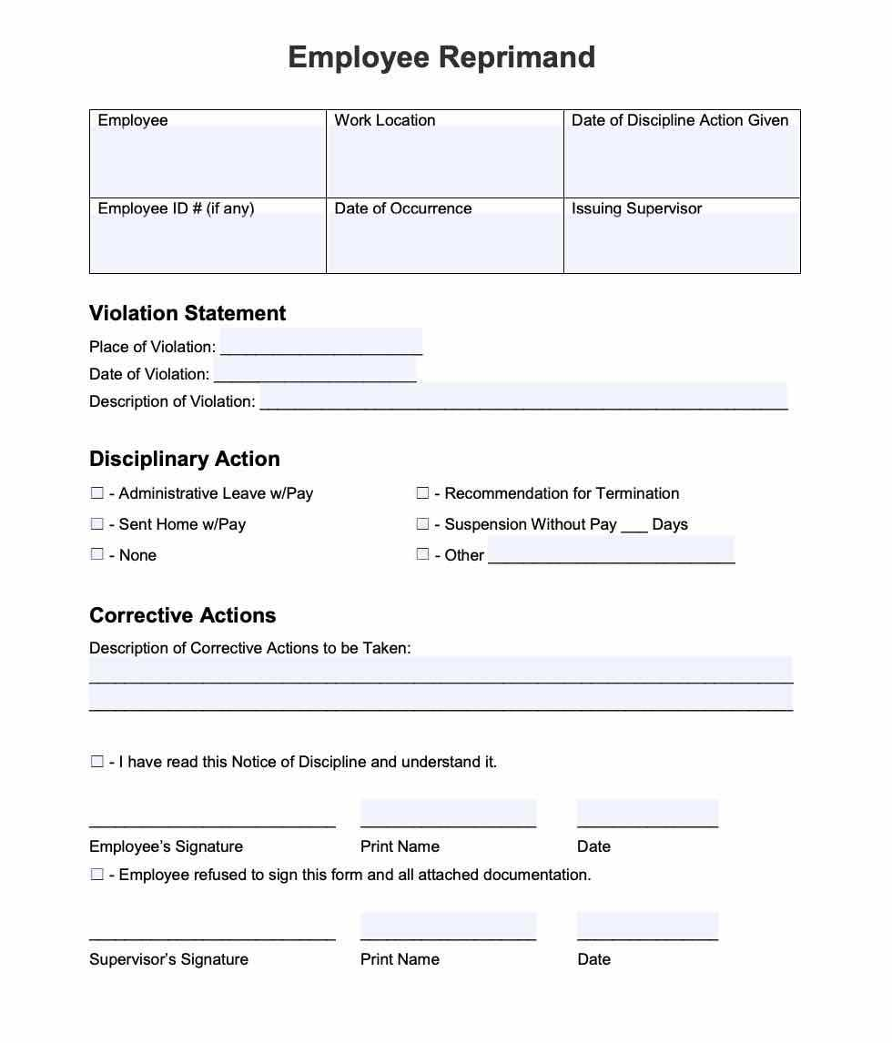 20 Employee Write Up Form Free Download PDF Word