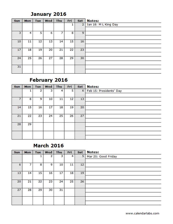 2016 Excel Calendar Quarterly Spreadsheet Free Printable