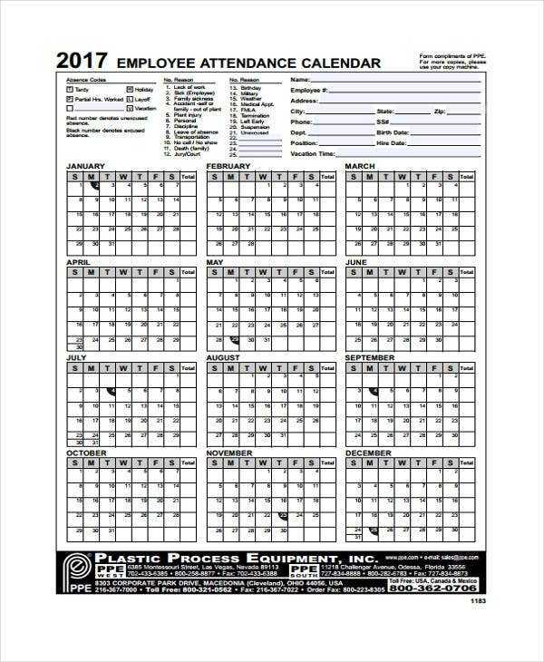 8 Attendance Calendar Templates Free Sample Example