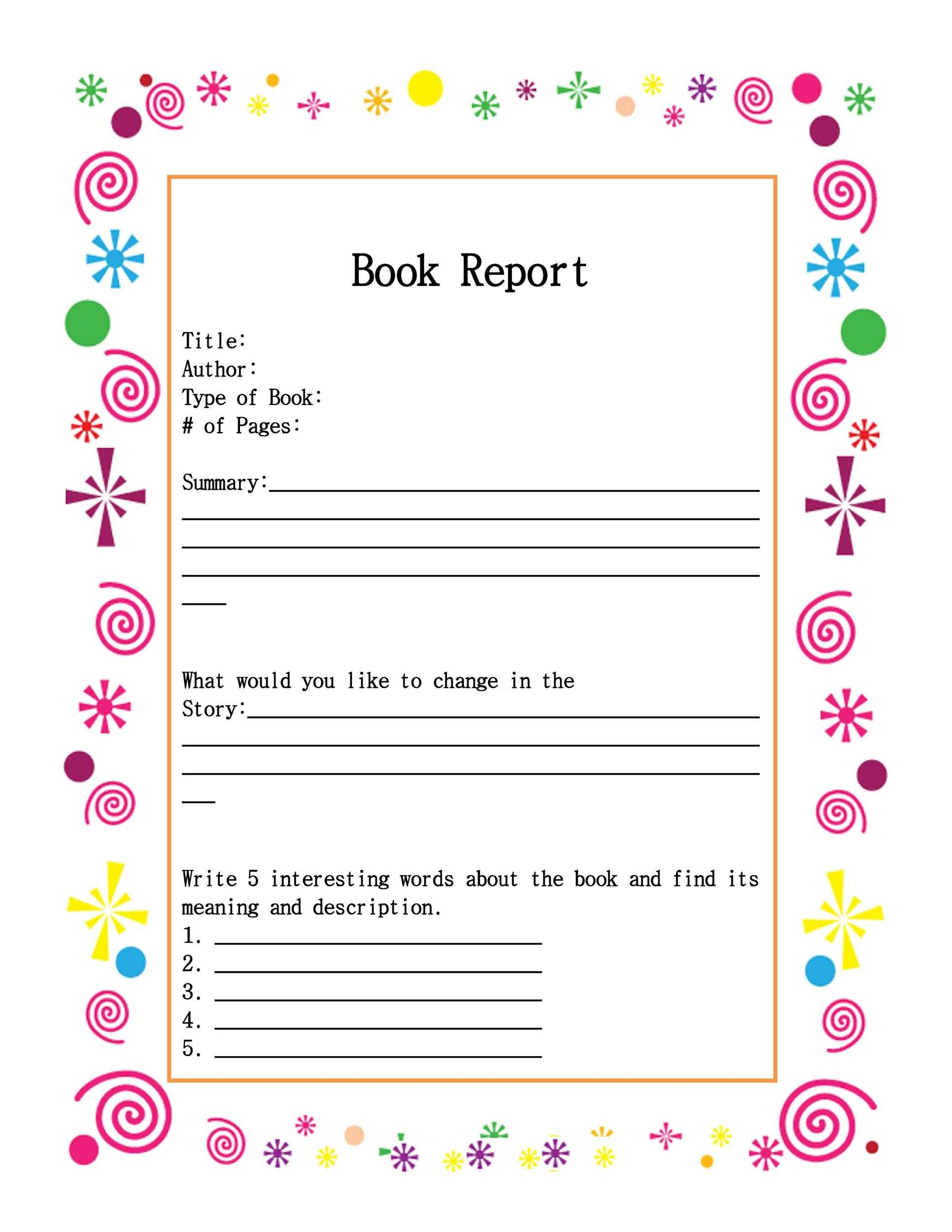 30 Book Report Templates Reading Worksheets