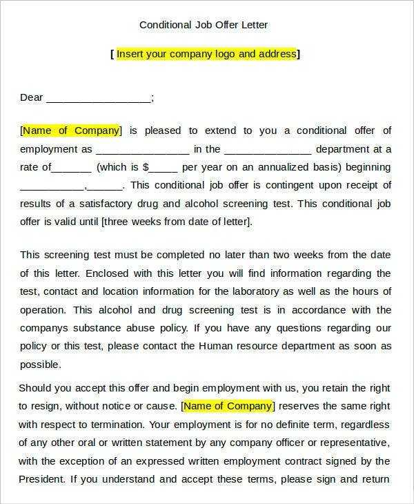 34 Offer Letter Examples Free Word PDF Documents