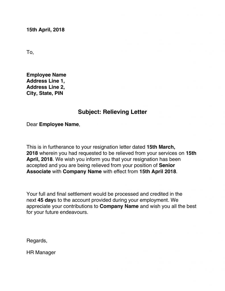 37 Professional Relieving Letters Free Templates