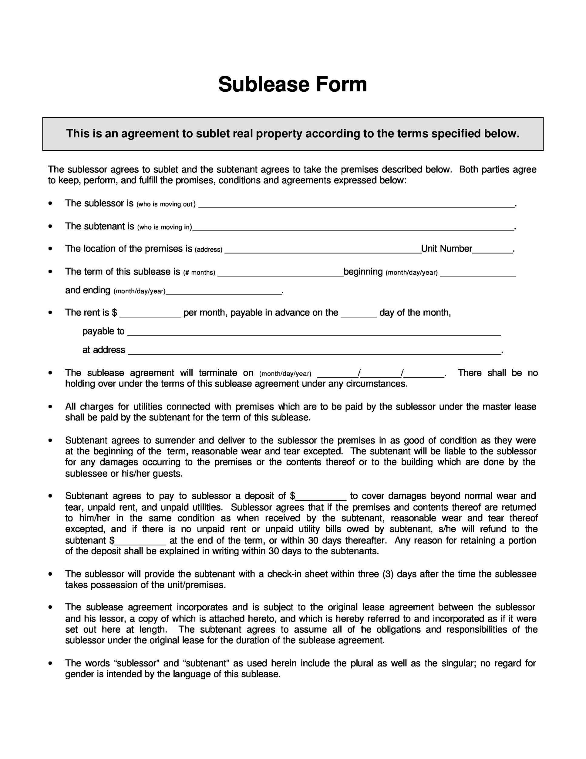 40 Professional Sublease Agreement Templates Forms
