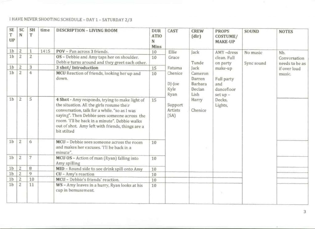 5 Shooting Schedule Templates Word Excel Templates