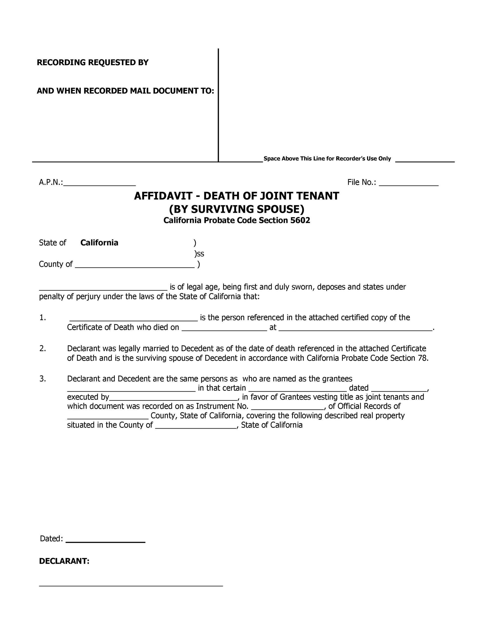 50 Editable Affidavit Of Death Forms All States
