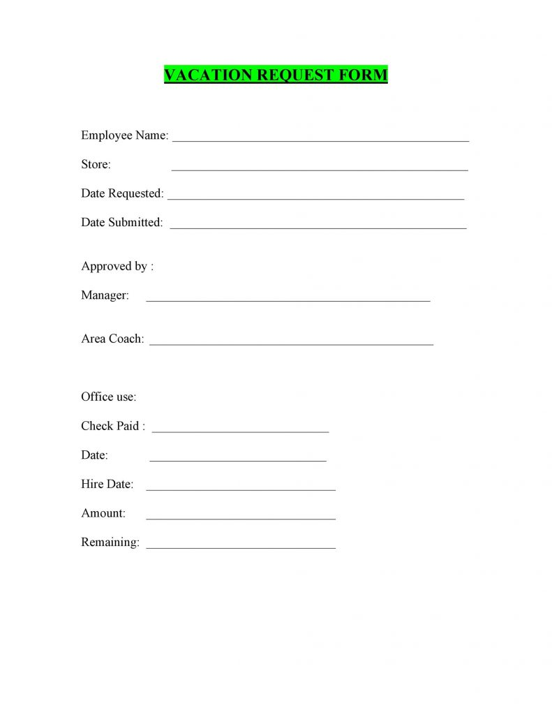 50 Professional Employee Vacation Request Forms Word