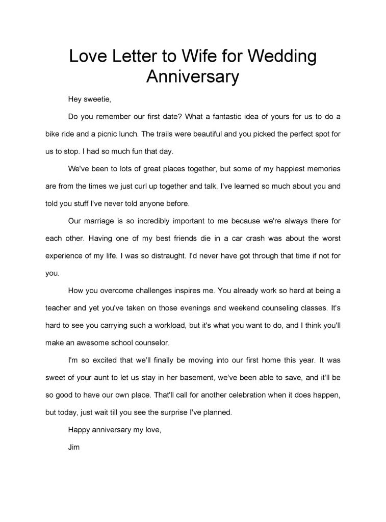 50 Romantic Anniversary Letters for Him Or Her TemplateLab