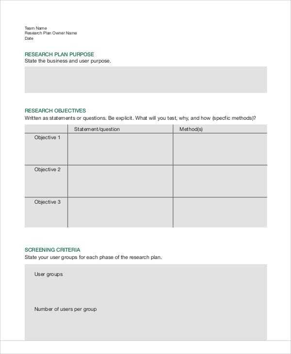 7 Research Plan Templates Free Sample Example Format