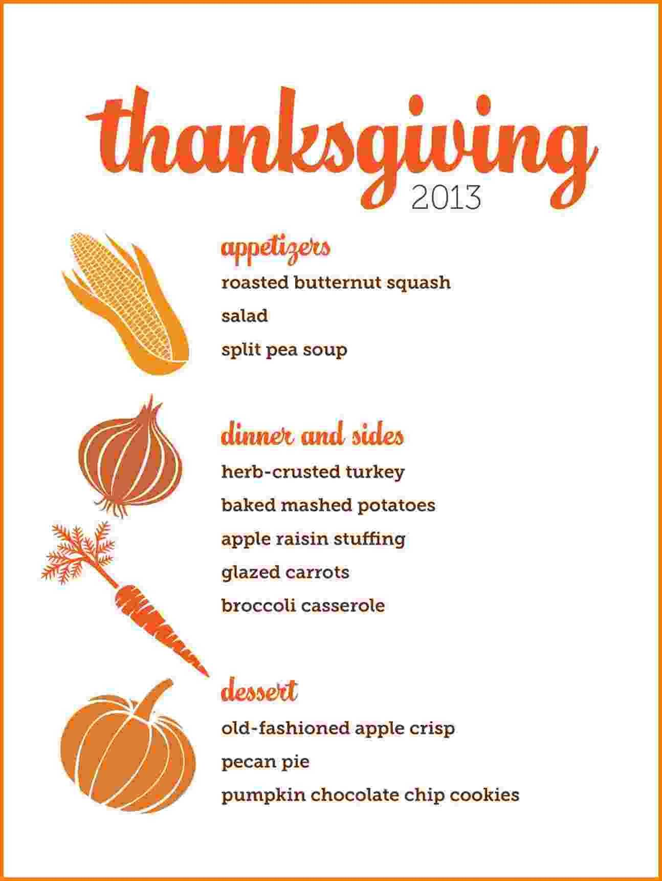 7 Thanksgiving Menu Template Card Authorization 2017