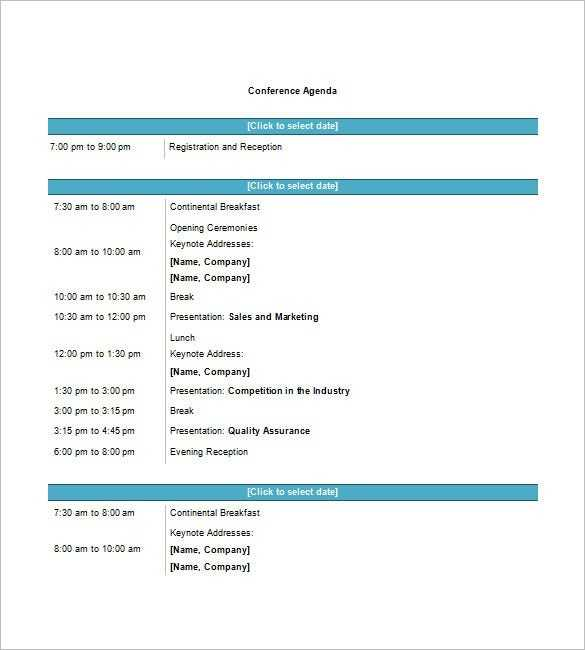 8 Conference Agenda Templates Free Sample Example