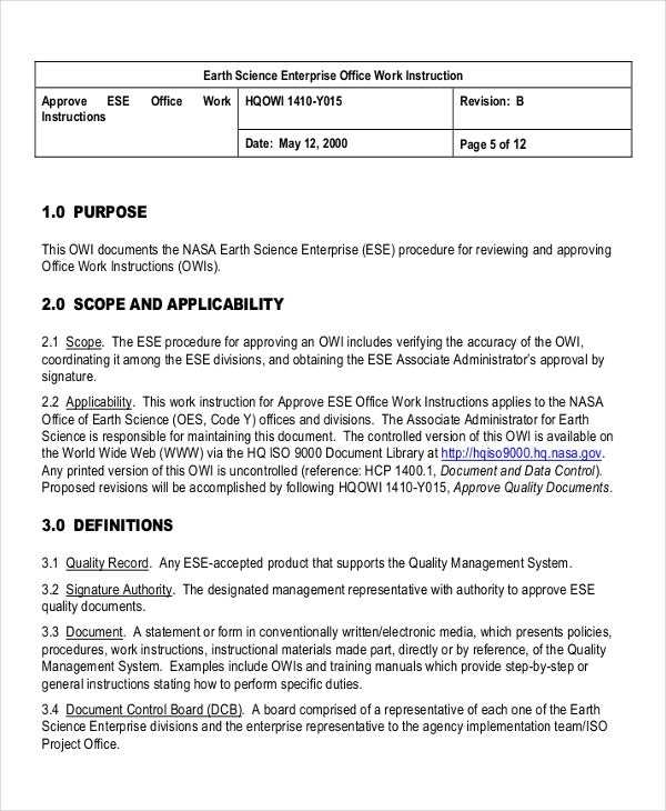 9 Work Instruction Templates Free Sample Example