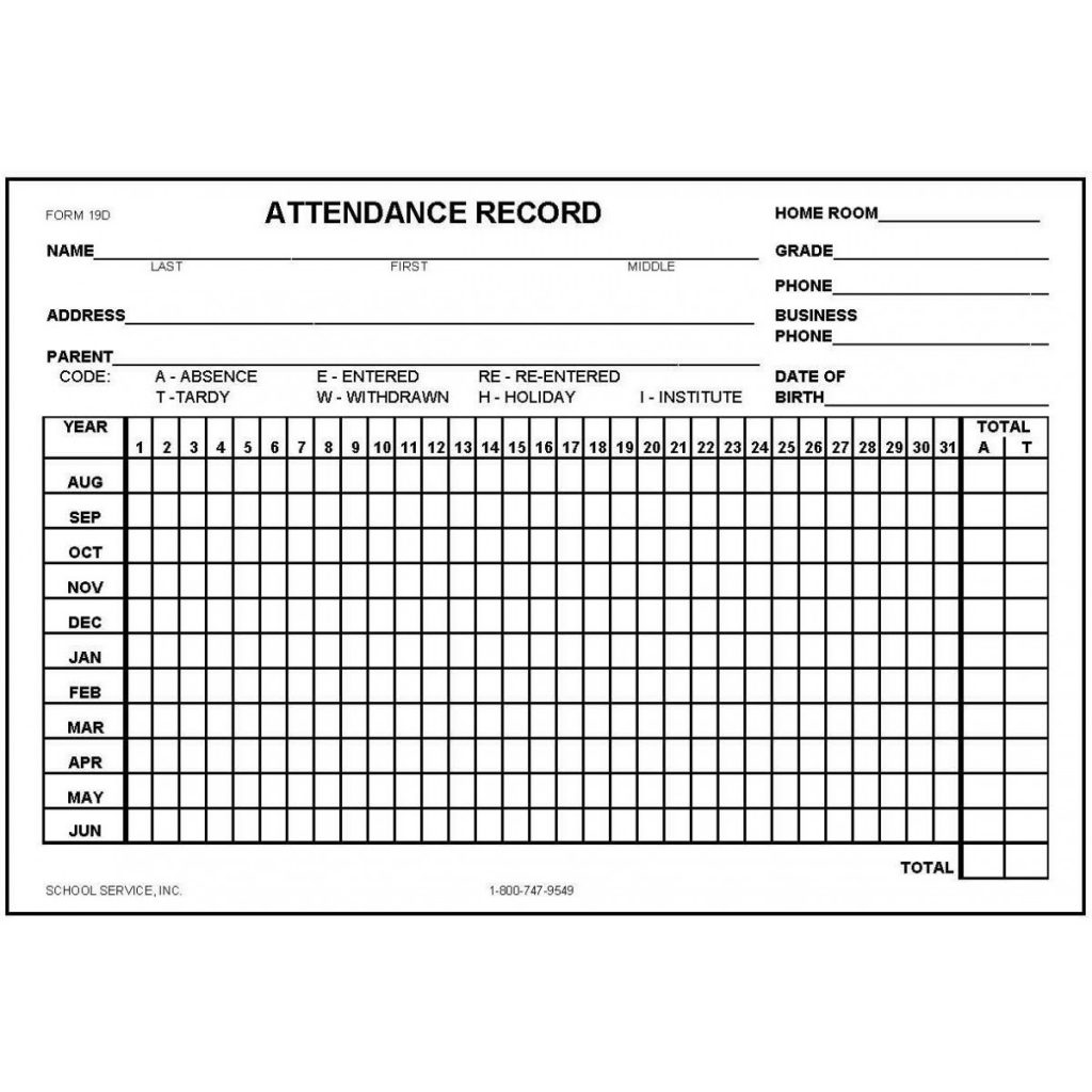 19D Attendance Record Card Index Card Forms