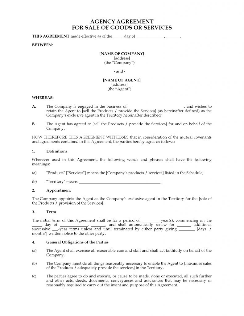 Australia Exclusive Agency Agreement Legal Forms And