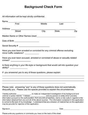 Background Check Form Small Business Free Forms