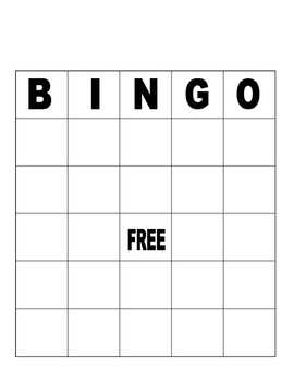 Blank Bingo Board For Fun Or Assessment By Penguins Dont