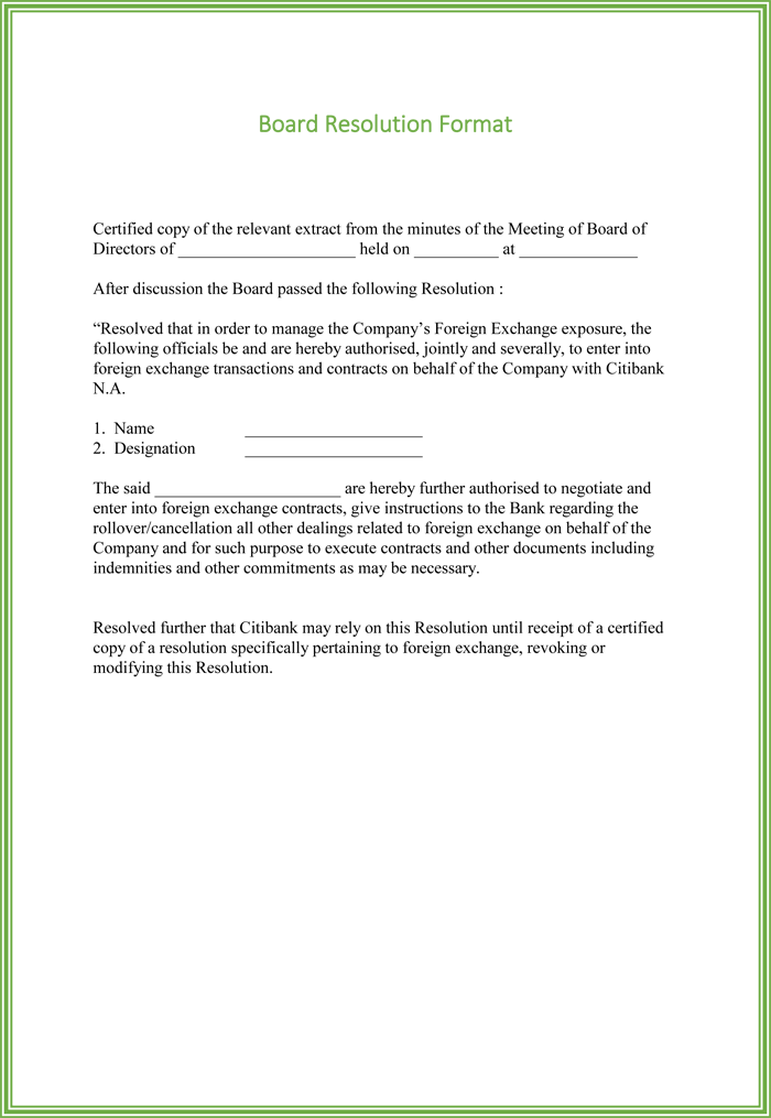 Board Resolution Templates 4 Samples For Word And PDF