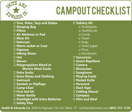 Scout Camp Fishing Camping Checklist Everything You Need