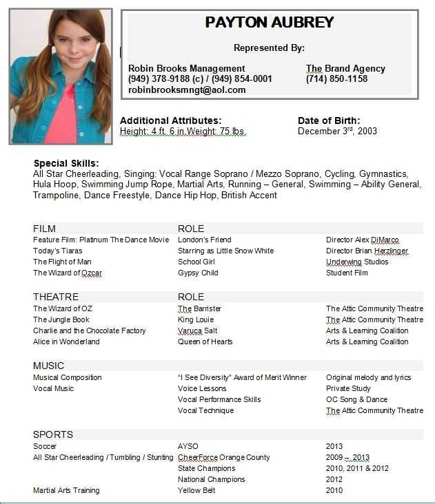 Child Acting Resumes Actor Resume Kids Examples You The