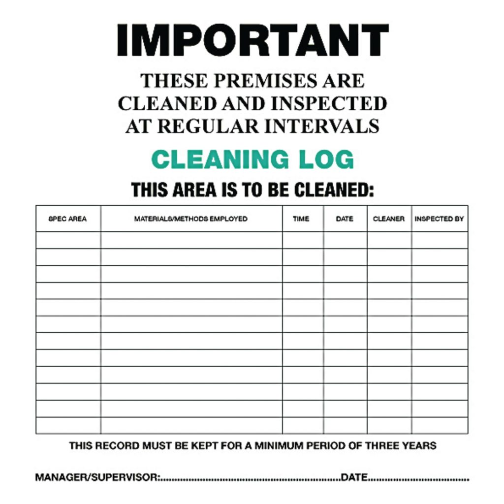 Cleaning Log Cards Pack Of 10 G1305420 GLS