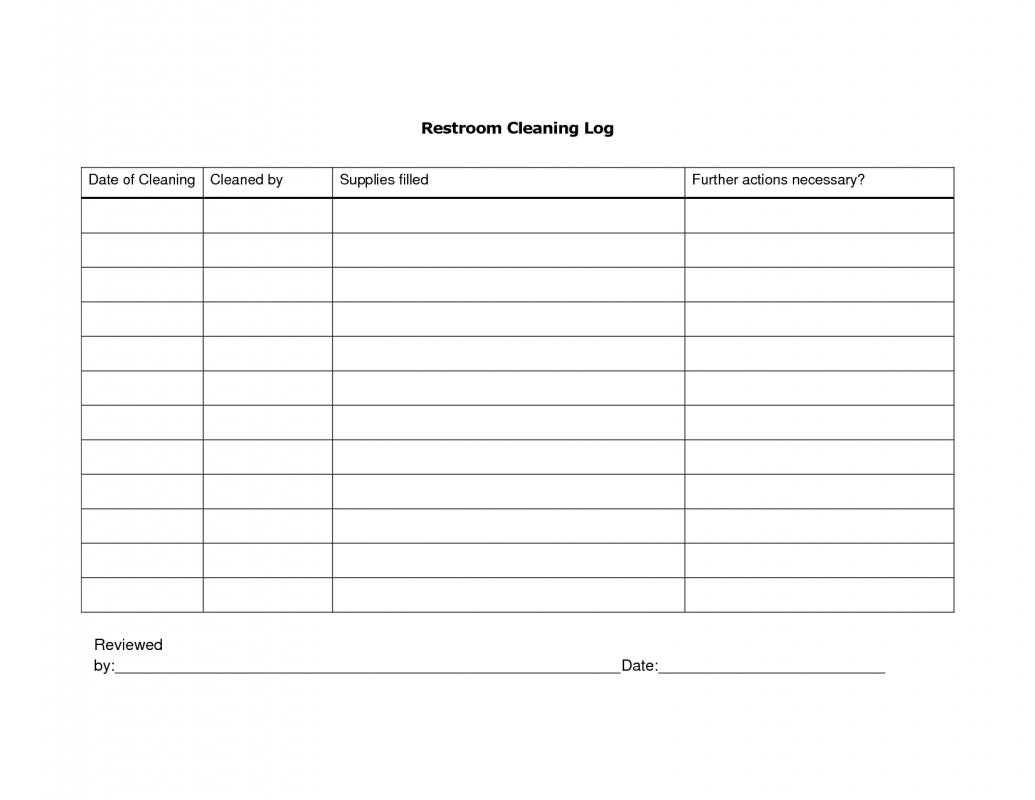 Restroom Cleaning Log Template Business