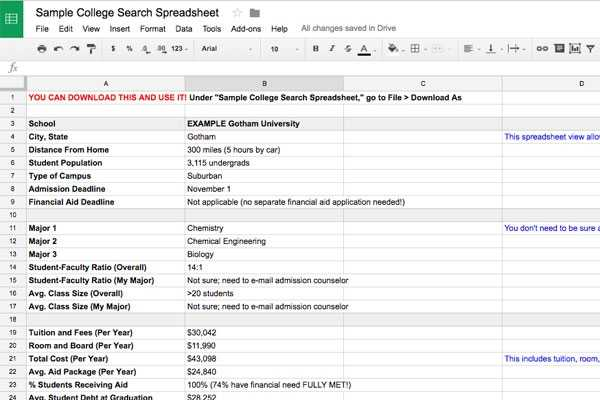 College Search Spreadsheet Template CollegeXpress