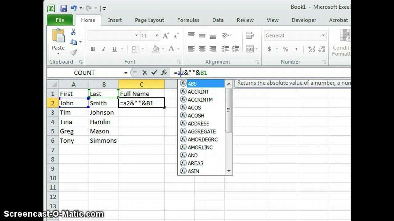 Excel Combine First And Last Name Into One Column YouTube