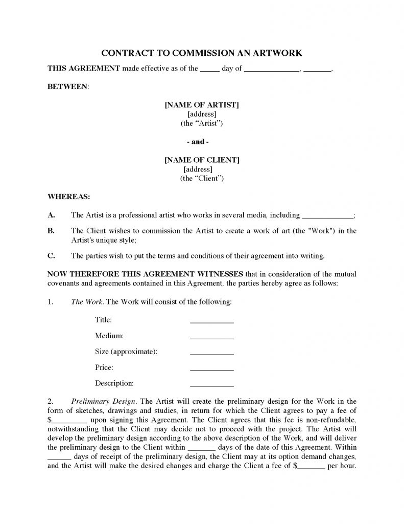 Commission Contract For Original Art Legal Forms And