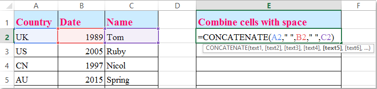 How To Concatenate Cells And Add Space Between Words In Excel